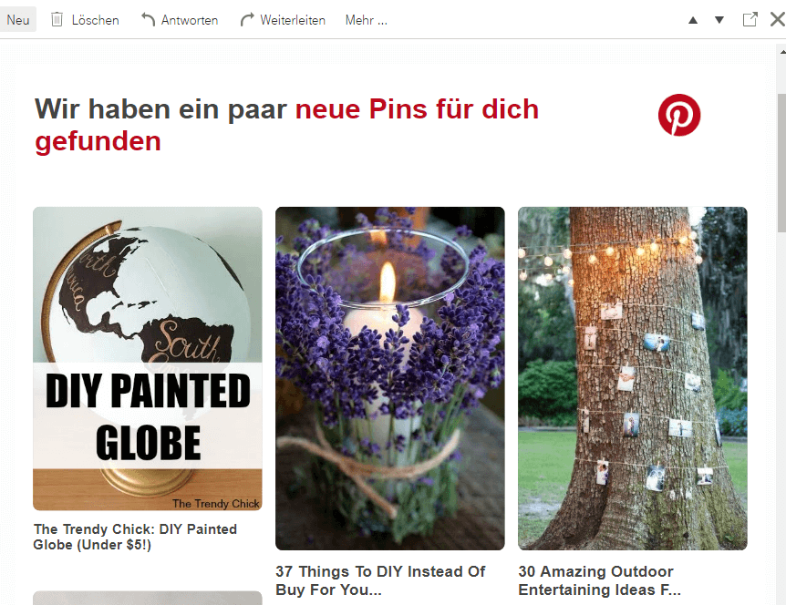 Beispiel einer personalisierten E-Mail von Pinterest.