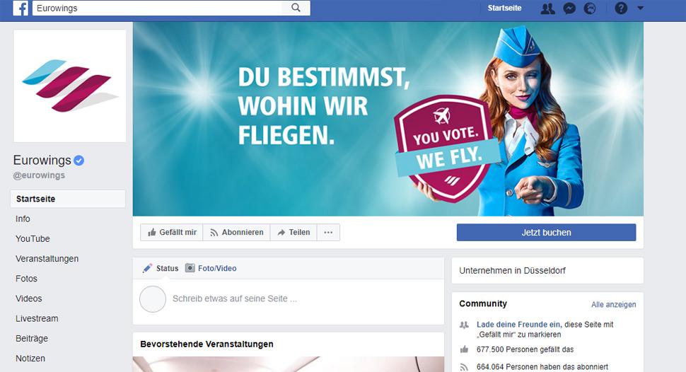 Eurowings Facebook Startseite – Besser aus Sicht des Löwenstark Profils, 26.03.2018