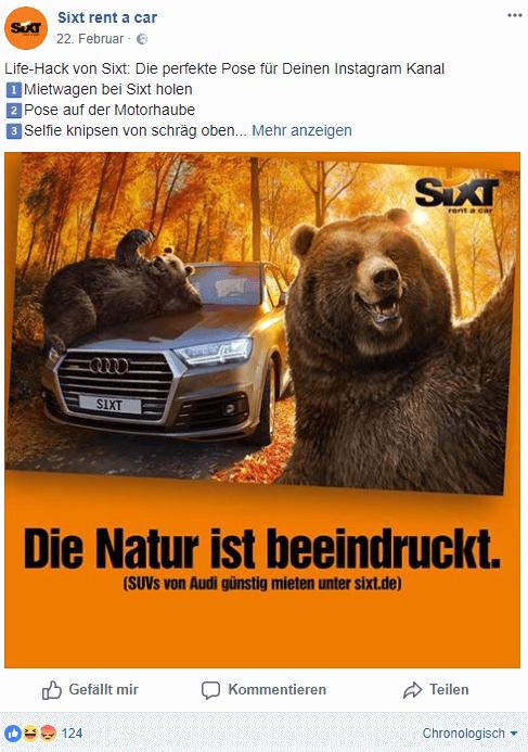 https://www.facebook.com/sixt.autovermietung/, 13.04.2018, 15:00