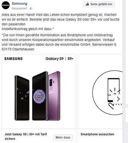 Samsung Werbung auf Facebook Startseite (Screenshot), 26.03.2018