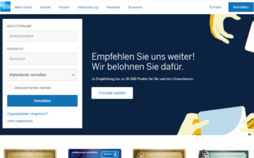 Screenshot American Express
