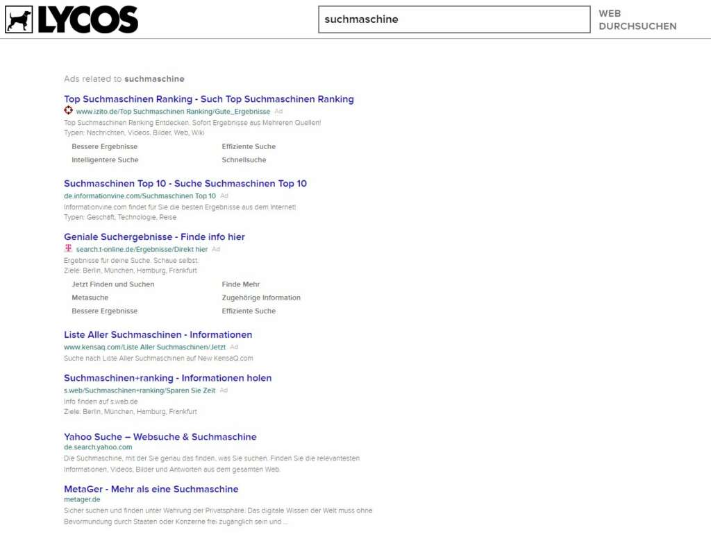 Lycos SERPs