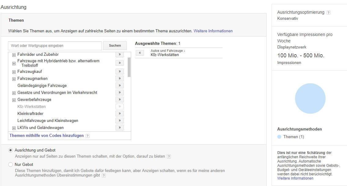 Verfügbare Targeting Optionen bei Google