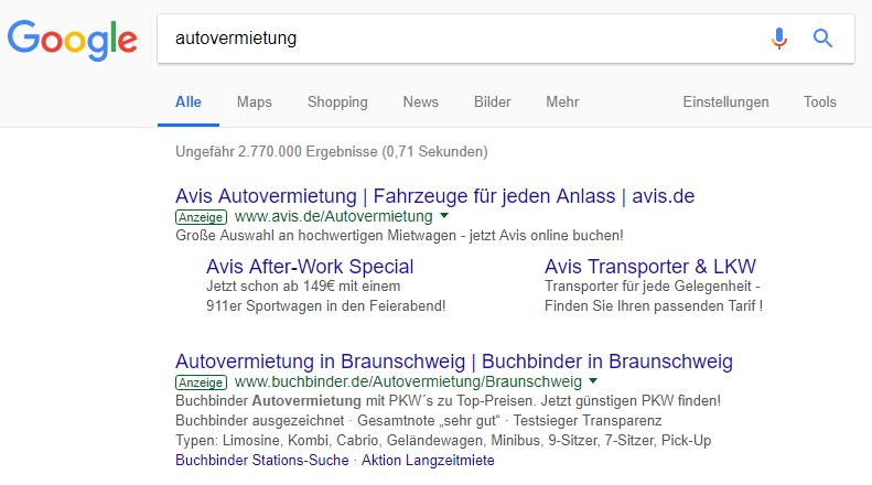 Google Sucheingabe Autovermietung