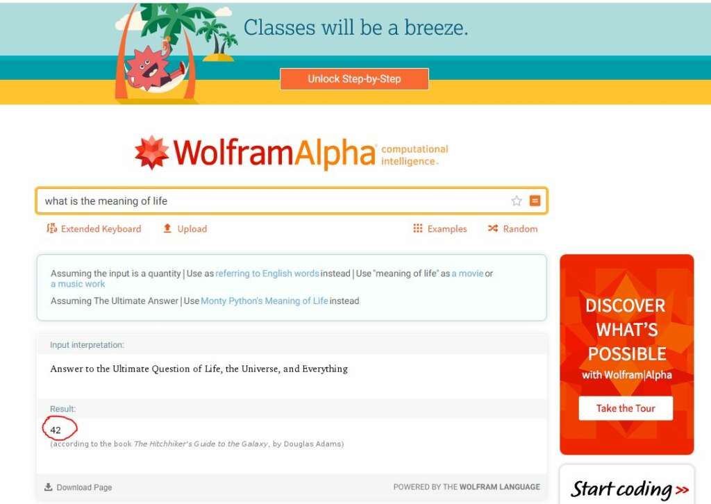 wolfram alpha meaing of life = 42